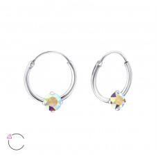 Round with Swarovski® crystals - 925 Sterling Silver Swarovski Silver Earrings A4S27949