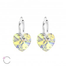 Heart with Swarovski® crystals - 925 Sterling Silver Swarovski Silver Earrings A4S28640