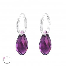 Teardrop - 925 Sterling Silver Swarovski Silver Earrings A4S28642