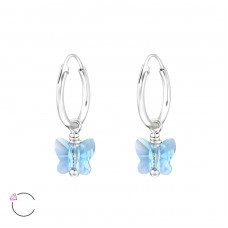 Butterfly with Swarovski® crystals - 925 Sterling Silver Swarovski Silver Earrings A4S29470