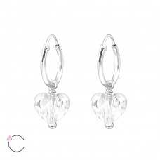 Heart with Swarovski® crystals - 925 Sterling Silver Swarovski Silver Earrings A4S29471