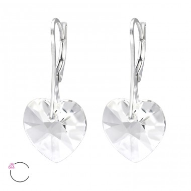 Heart - 925 Sterling Silver Swarovski Silver Earrings A4S30651