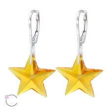 Star with Swarovski® crystals - 925 Sterling Silver Swarovski Silver Earrings A4S30653