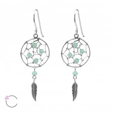 Dreamcatcher - 925 Sterling Silver Swarovski Silver Earrings A4S31353