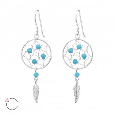 Dreamcatcher - 925 Sterling Silver Swarovski Silver Earrings A4S31354