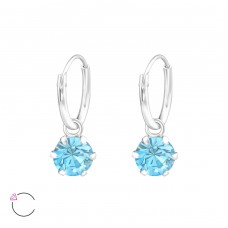 Round - 925 Sterling Silver Swarovski Silver Earrings A4S32857