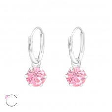 Round with Swarovski® crystals - 925 Sterling Silver Swarovski Silver Earrings A4S32857