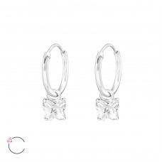 Butterfly - 925 Sterling Silver Swarovski Silver Earrings A4S32858