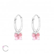 Butterfly with Swarovski® crystals - 925 Sterling Silver Swarovski Silver Earrings A4S32858