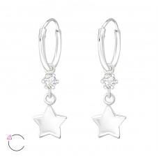Hanging Star with Swarovski® crystals - 925 Sterling Silver Swarovski Silver Earrings A4S32861