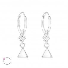 Triangle - 925 Sterling Silver Swarovski Silver Earrings A4S32863