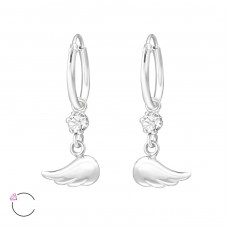 Wing with Swarovski® crystals - 925 Sterling Silver Swarovski Silver Earrings A4S32871