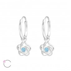Flower with Swarovski® crystals - 925 Sterling Silver Swarovski Silver Earrings A4S32878