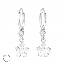 Snowflake - 925 Sterling Silver Swarovski Silver Earrings A4S32892
