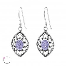 Antique - 925 Sterling Silver Swarovski Silver Earrings A4S34638