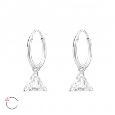 Hanging Triangle with Swarovski® crystals - 925 Sterling Silver Swarovski Silver Earrings A4S35624