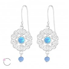 Flower - 925 Sterling Silver Swarovski Silver Earrings A4S36810
