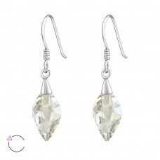 Twisted Drop - 925 Sterling Silver Swarovski Silver Earrings A4S37364