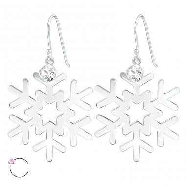 Snowflake - 925 Sterling Silver Swarovski Silver Earrings A4S39210