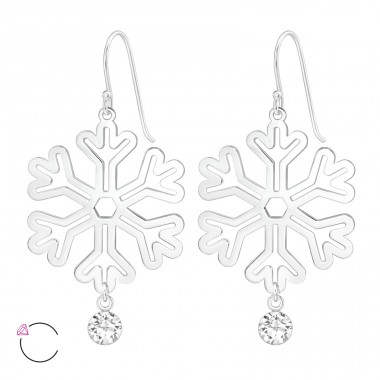 Snowflake - 925 Sterling Silver Swarovski Silver Earrings A4S39212
