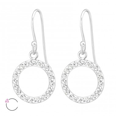 Circle - 925 Sterling Silver Swarovski Silver Earrings A4S39327