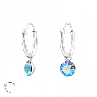Hanging Round - 925 Sterling Silver Swarovski Silver Earrings A4S39328