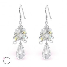 Tear Drop with Swarovski® crystals - 925 Sterling Silver Swarovski Silver Earrings A4S8573