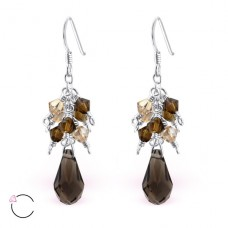 Tear Drop with Swarovski® crystals - 925 Sterling Silver Swarovski Silver Earrings A4S8578