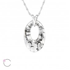 Oval - 925 Sterling Silver Swarovski Silver Necklaces A4S27733