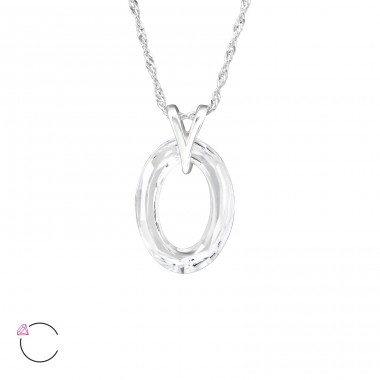 Oval - 925 Sterling Silver Swarovski Silver Necklaces A4S27735