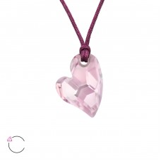 Heart with Swarovski® crystals - 925 Sterling Silver + Nylon Cord Swarovski Silver Necklaces A4S27958