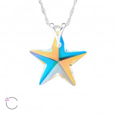 Star - 925 Sterling Silver Swarovski Silver Necklaces A4S29484