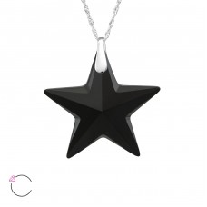 Star - 925 Sterling Silver Swarovski Silver Necklaces A4S29494