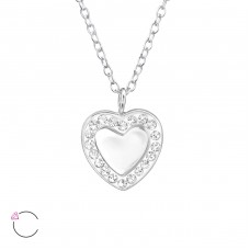 Heart Mirror - 925 Sterling Silver Swarovski Silver Necklaces A4S30710