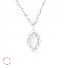 Marquise Mirror with Swarovski® crystals - 925 Sterling Silver Swarovski Silver Necklaces A4S30719