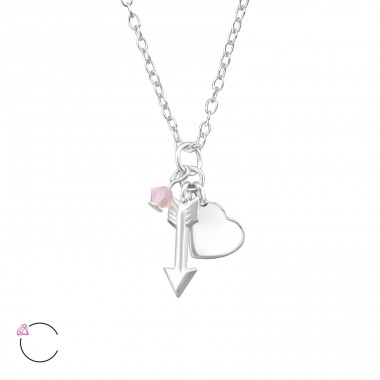 Heart And Arrow Charm - 925 Sterling Silver Swarovski Silver Necklaces A4S31582
