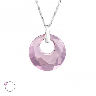 Round - 925 Sterling Silver Swarovski Silver Necklaces A4S31792