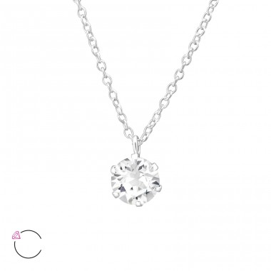 Round - 925 Sterling Silver Swarovski Silver Necklaces A4S32723
