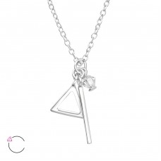 Geometric - 925 Sterling Silver Swarovski Silver Necklaces A4S32725