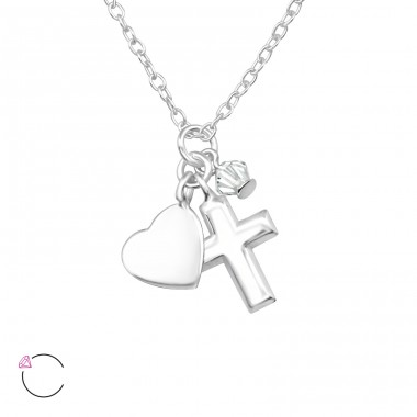 Cross - 925 Sterling Silver Swarovski Silver Necklaces A4S32728