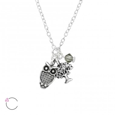 Owl And Tree Of Life - 925 Sterling Silver Swarovski Silver Necklaces A4S32731