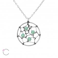 Dreamcatcher - 925 Sterling Silver Swarovski Silver Necklaces A4S36444