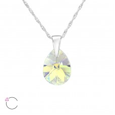 Pear - 925 Sterling Silver Swarovski Silver Necklaces A4S38046