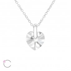 Heart - 925 Sterling Silver Swarovski Silver Necklaces A4S38047