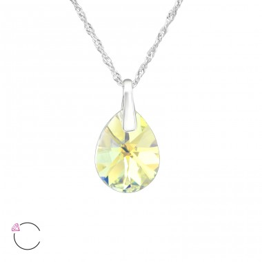 Pear - 925 Sterling Silver Swarovski Silver Necklaces A4S39329