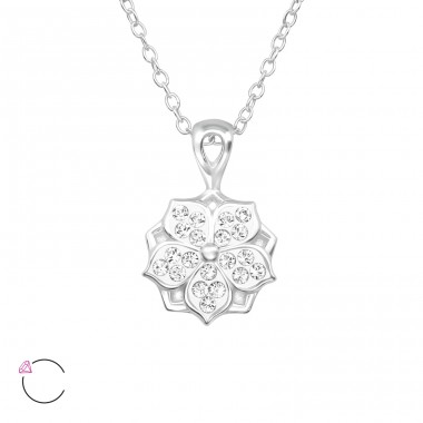 Flower - 925 Sterling Silver Swarovski Silver Necklaces A4S39491