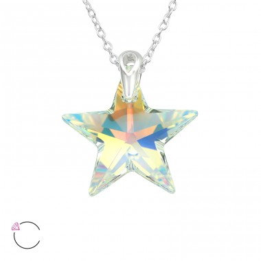 Star - 925 Sterling Silver Swarovski Silver Necklaces A4S39493