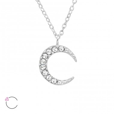 Moon - 925 Sterling Silver Swarovski Silver Necklaces A4S39513