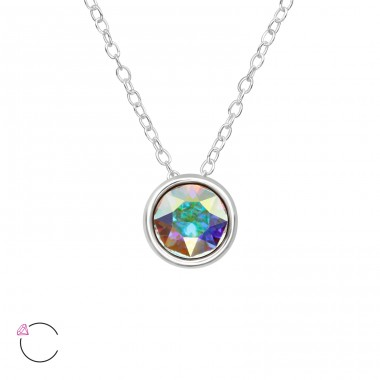 Round - 925 Sterling Silver Swarovski Silver Necklaces A4S39515
