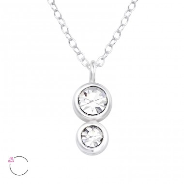 Double Round - 925 Sterling Silver Swarovski Silver Necklaces A4S39549